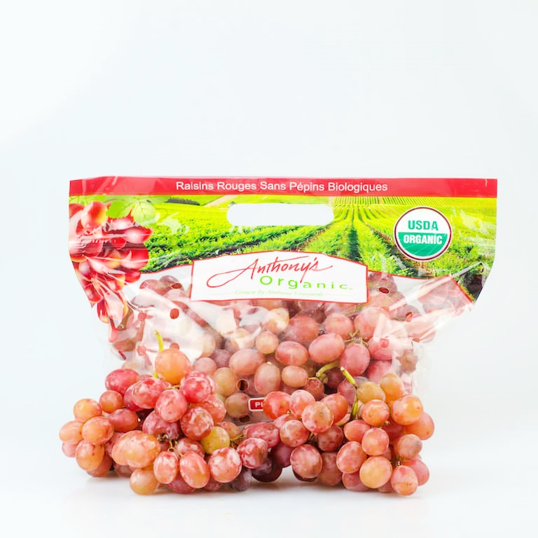 Anthony's Organic Sweet Scarlet Red Seedless Grapes (1kg